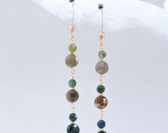 Dainty Green Tourmaline Faceted Mini Coin Earrings with Gold Vermeil Karen Hill Tribe Small Nugget Beads October Birthday Gift Idea