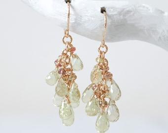 Handmade Gold Faceted Olive Quartz and Sapphire Teardrop Cluster Earrings Gift Idea for Ladies