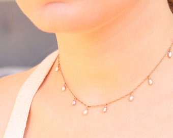 Handmade Rose Gold Pastel Pink Baroque Freshwater Pearl Choker Necklace June Birthstone Gift Idea for Girls