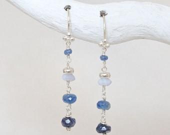 Sapphire and Chalcedony Karen Hill Silver Earrings Handmade September Birthstone Gift Idea for Women