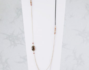 Unique Modern Hand Cut Smoky Quartz and Sapphire Gold Layered Asymmetric Necklace Gift Idea for Ladies