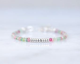 Unique Karen Hill Tribe Silver Nugget Bead and Faceted Watermelon Tourmaline Bracelet October Birthstone Gift Idea for Women