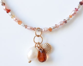 Handmade pearl and sapphire choker with beautiful faceted tourmaline teardrop, pearl & gold shell charms
