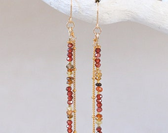 Dainty Garnet and Tourmaline Faceted Drop Earrings with Gold Vermeil Karen Hill Tribe Nugget Beads Christmas Gift Idea January Birthstone