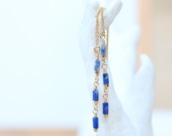 Handmade Natural Sodalite Threader Earrings in Shades of Blue Unique Gift Idea For Girls in Gold Fill, Rose Gold Fill or Sterling Silver