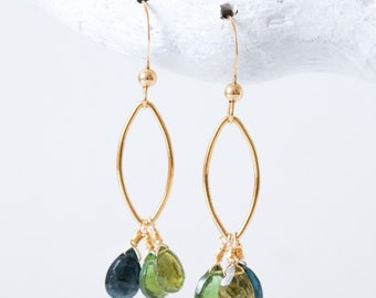 Handmade Green and Pink Natural Tourmaline Gold Filled Oval Drop Earrings for Girls