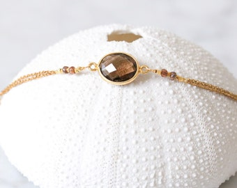 Handmade Faceted Smoky Quartz and Tundra Sapphire Gold Modern Stacking Bracelet with Extender Chain Gift Idea for Ladies
