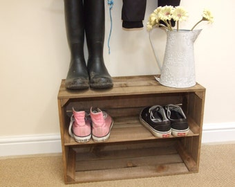 Rustic, Vintage Style, WOODEN SHOE RACK, New, Handmade,  Apple Crate Shoe Rack,  Shabby chic