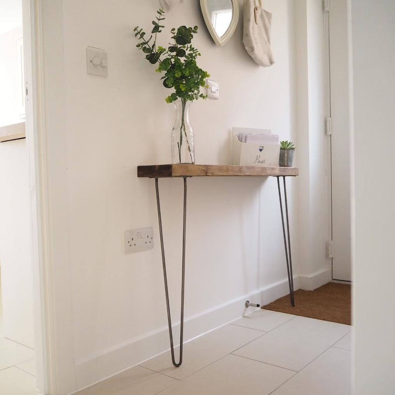 Narrow console table with hairpin legs wooden rustic hallway  2d1a37ca8