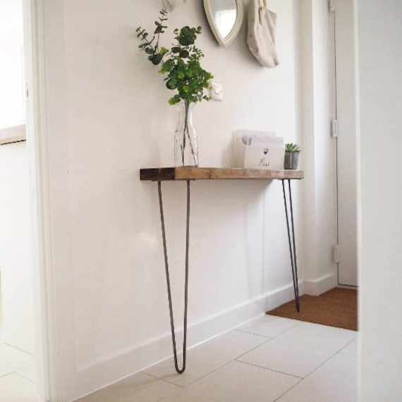 White Resin Folding Table, Narrow Console Table With Hairpin Legs Free Delivery Wooden Etsy