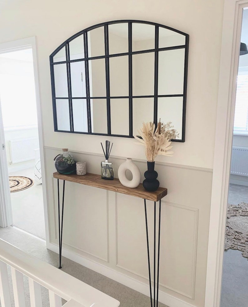 Narrow console table with hairpin legs FREE DELIVERY wooden image 0