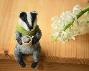 Needle felted Spring Badger