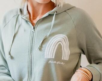 Rainbow Mama Zip up Hoodie, Nursing Friendly Mom Sweatshirt, Rainbow Mama Shirt, Gift for Rainbow Mama, Full Zip Hooded Sweatshirt for Mom