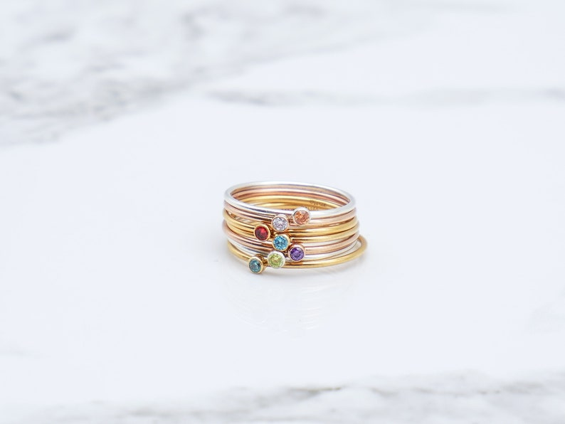 d6802abbbd074 Rose Gold Birthstone Ring, Stackable Ring, New Mom Gift, Mothers Ring, Gift  for Her, Tiny Gemstone Ring, Dainty, Stacking Rings,