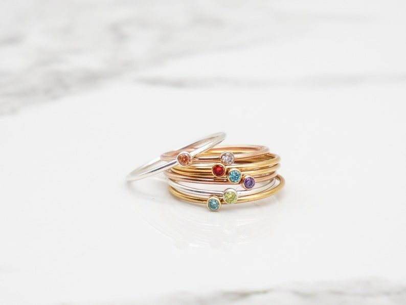 007491d373f70 Gold Birthstone Ring, Stackable Ring, Stacking Rings, Ring for Mom, Gifts  for Mom, Rings for Women, Minimalist Jewelry, Dainty Gold Ring