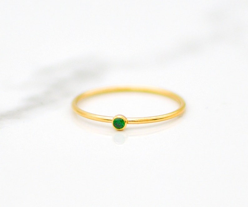 40c2a15b5cae1 May Birthstone Ring, Stackable Ring, Stacking Rings, Ring for Mom, Gifts  for Mom, Rings for Women, Dainty Gold Ring, Emerald Birthstone