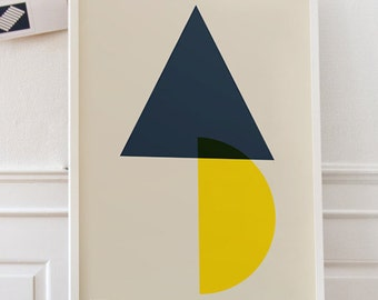 Half MOON _ Printable Poster - 50x70 cm, A3, A4 - Inspirational Poster - Printable Poster, Abstract Geometric minimalist