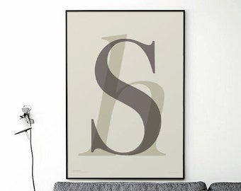 sh _ Printable Poster - 50x70 cm, A3, A4 -  Typographic Art, Printable Art, Gift Idea, Home Decor Art, Scandinavian Style Art, letter poster