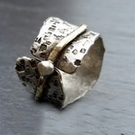 Handmade Silver and Gold Stamped Ring  by MidasTouch Jewels in Wales