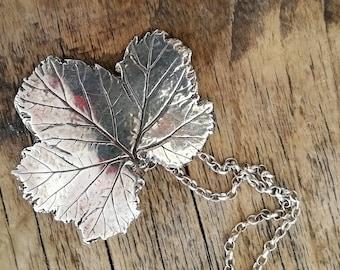 Silver Geranium Leaf Pendant