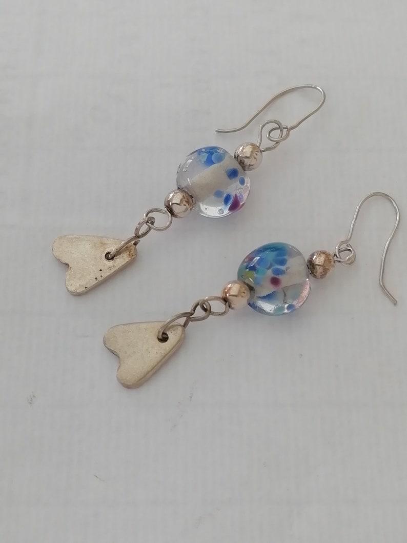 Silver  Handmade Glass Bead Earrings with Heart Charms image 0