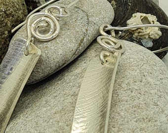 Sterling Silver Rectangular and Coiled Drop Earrings