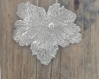 Silver Geranium Large Leaf Pendant