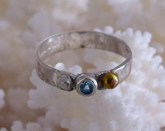 Ring Handmade Silver and Gold Stamped  set with Tourmaline/ Cubic Zircon/topaz