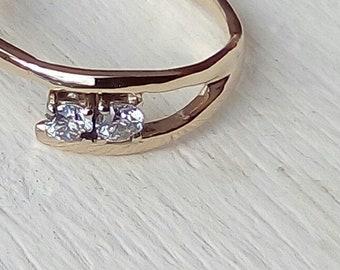 Ring Handmade  Gold set with 2 diamonds