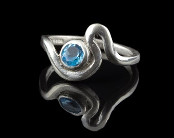 Sterling silver ring Estuary set with Topaz Gemstone 4-5mm