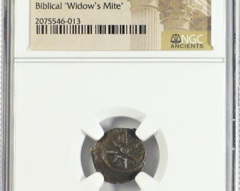 Judaea 103-76 BC Widow's Mite Prutah Ancient Authenticated Bronze Coin, Money of the Bible, Gift Gifts for Men Rare Coins