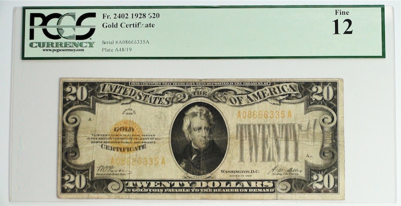 1928 Twenty 20 Dollar Bill Note Old Currency US Paper Money Gold  Certificate Woods Mellon Signature, Gift Gifts for Men Rare Banknotes
