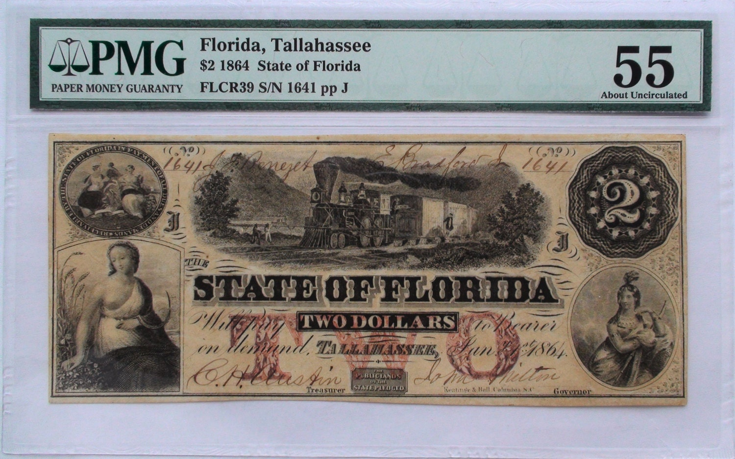 1864 Us 2 Dollars Banknote With Train Florida Pmg Etsy