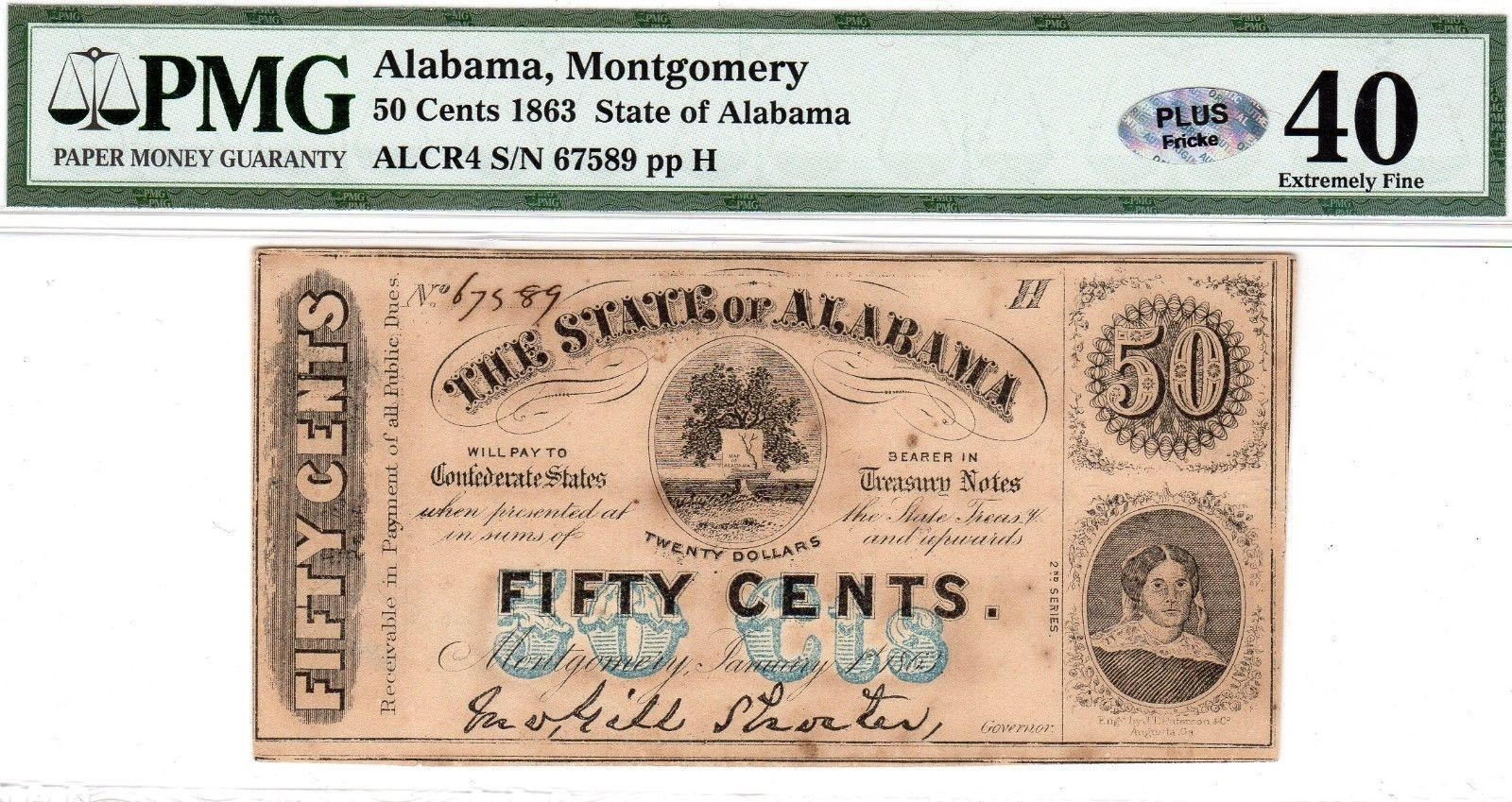 1863 Civil War State Of Alabama 50 Cents Confederate States Etsy