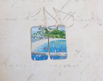 Birthday Holiday Souvenir Beaches 10th Anniversary Gift Recycled Tin Coastal Earrings Mother/'s Day Seaside Medium Drop
