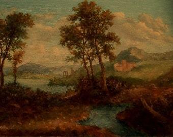 Miniature Landscape Painting, ACEO Original, Oil Painting on Panel