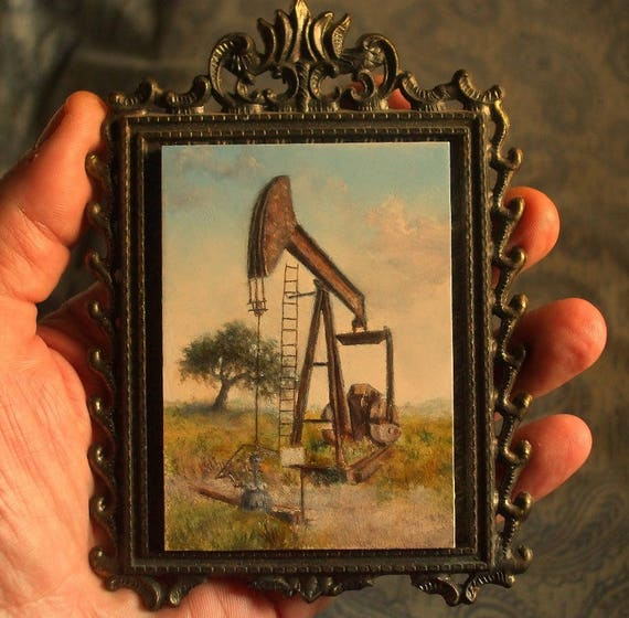 52fa09d891d Miniature Texas Hill Country Painting Pumpjack Oil Well