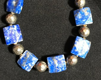 Blue Lapis Lazuli and Pyrite Bracelet
