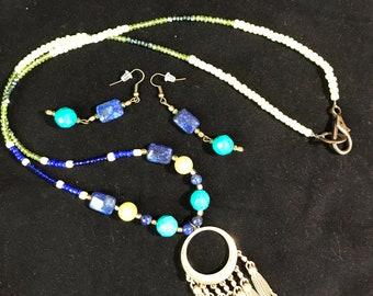Long Lapis,Agates,Magnesite Summertime Necklace Set