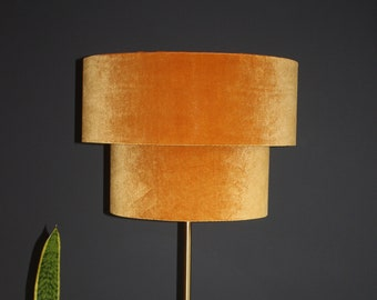 Gold Velvet Tiered Lampshade with Gold fringin and Brushed