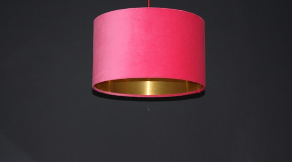 Hot pink Velvet lampshade with brushed gold mirror copper or coloured cotton lining