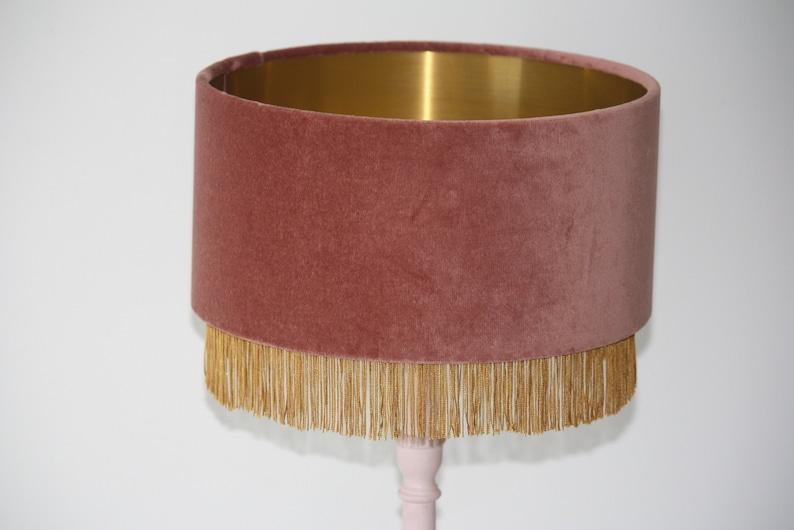 Dusky Pink Velvet shade with Gold fringe trim and brushed gold image 0