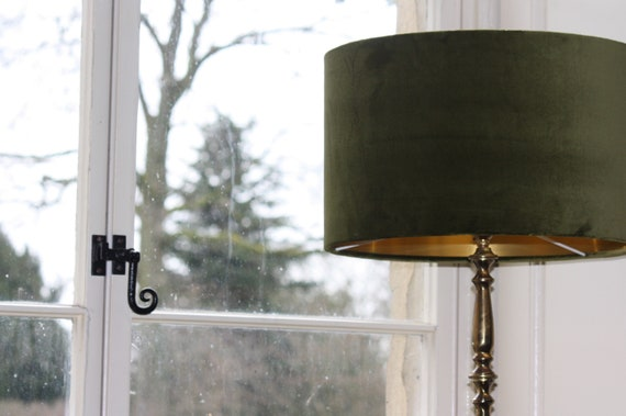 Olive Green Velvet lampshade with brushed gold mirror copper or coloured cotton lining