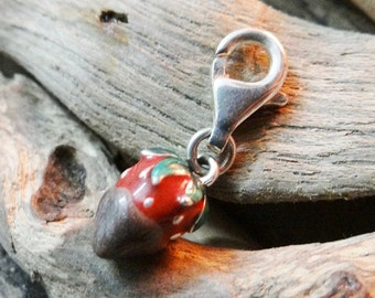 RARE Sterling Silver stamped .925 925 Strawberry Charm Chocolate dipped with lobster clasp clip enamel enameled Valentines Day Date Love