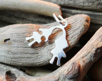 Sterling Silver .925 Kids Children Toddler Charm Pendant Childrens Boy Girl Two 2 Babies Twins Kid Twin Gift new mum mom mother expecting