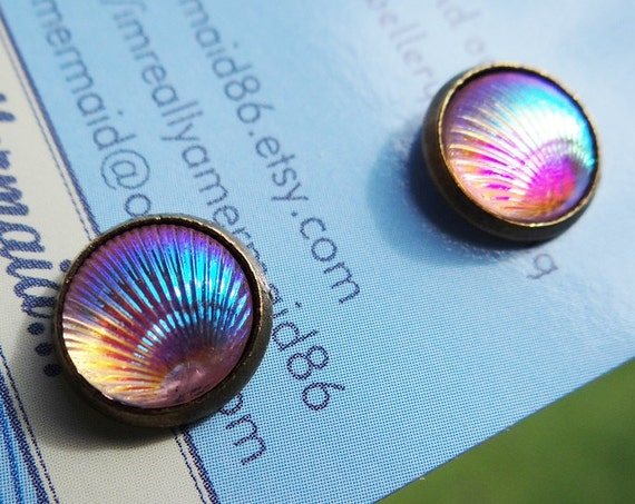 Pale Pink AB Clamshell Stud Earrings Studs Mermaid Tiny Little Clam Shell Seashell Tail Scale Scales Iridescent Earring Aura Aurora Borealis