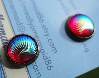 Dark Red AB Clamshell Stud Earrings Studs Mermaid Tiny Little Clam Shell Seashell Tail Scale Scales Iridescent Earring Aura Aurora Borealis