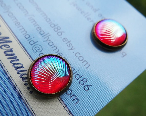 Pink / Red AB Clamshell Stud Earrings Studs Mermaid Tiny Little Clam Shell Seashell Tail Scale Scales Iridescent Earring Aura
