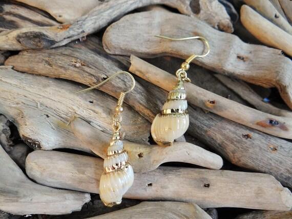 Conch Trumpet I'm Really A Mermaid Genuine Natural Seashell Shell Sea Gold Plated Earring Earrings Ear Hooks Dangles Im Drop Festival Boho