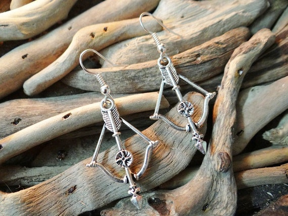Bow & Arrow Bows and Arrows Artemis Diana Hunting Earring Earrings Ear Ring Rings Drops Drop Dangle Dangles Pagan Wiccan Wicca Witch Magick